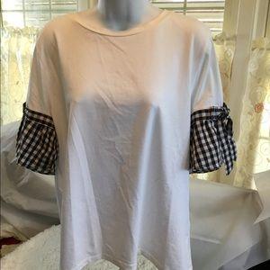 A.moon White Cotton plaid trim shirt